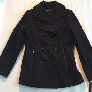 Brand New  Black Wool Double-Breasted Pea Coat